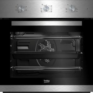 Product features 59.5 x 59.4 x 56.7 cm (H x W x D) Capacity: 66 litres Oven type: Fan Enamel coating Energy rating: A